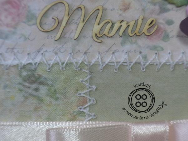 Patchworkowe szczegóły kartki - przeszycia białą nicią zygzakiem