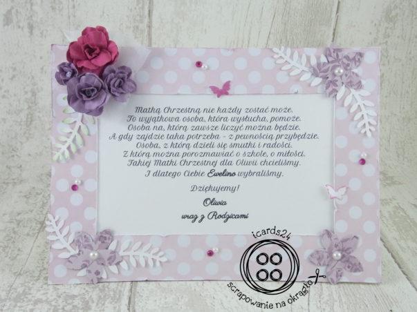 różowa ramka na podziękowanie