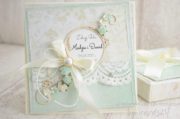 miętowa ślubna kartka