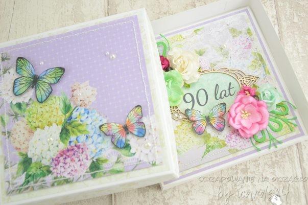kartka z pudełkiem z okazji 90 urodzin