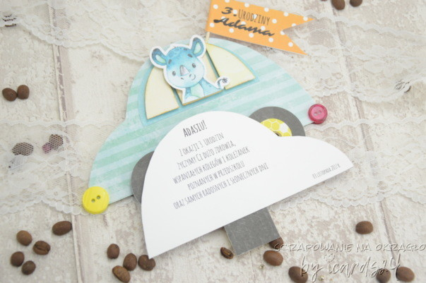 kartka samochodzik z wyciąganymi życzeniami