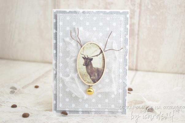 Świąteczna kartka z jeleniem