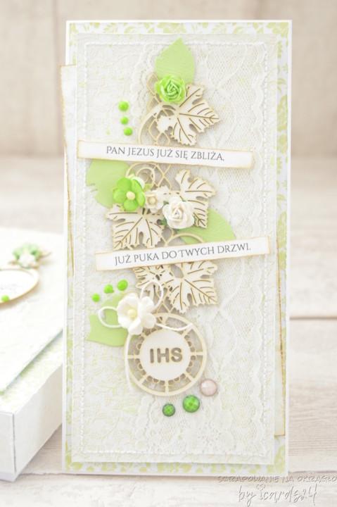 kartka z pudełkiem z okazji przyjęcia I Komunii Świętej