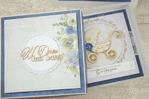 ozdobne pudełko do kartki na Chrzest Święty
