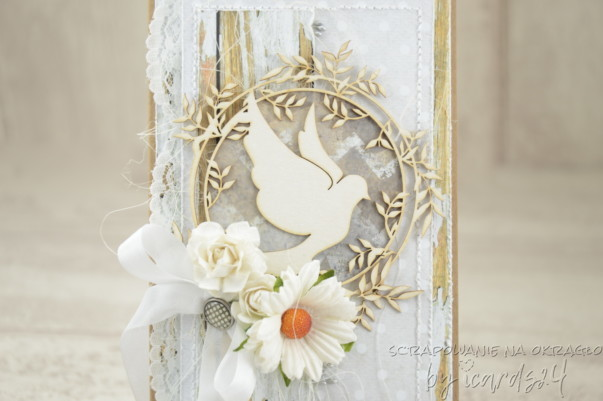 kartka z gołębiem na Chrzest