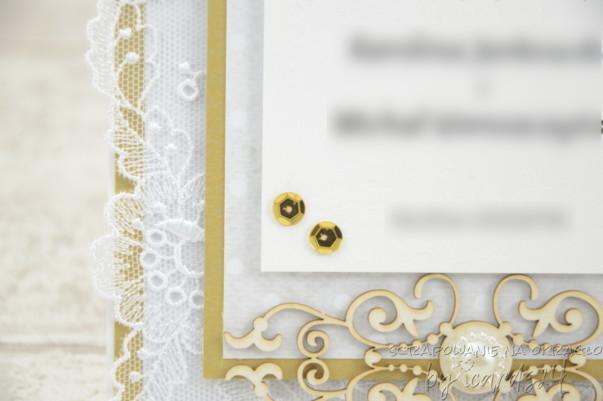 Zaproszenia na Ślub glamour biało-złote
