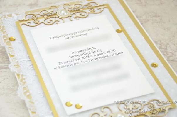 Zaproszenia na Ślub złoto-białe