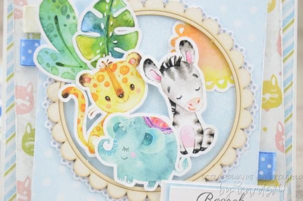 kartka na roczek ze zwierzątkami