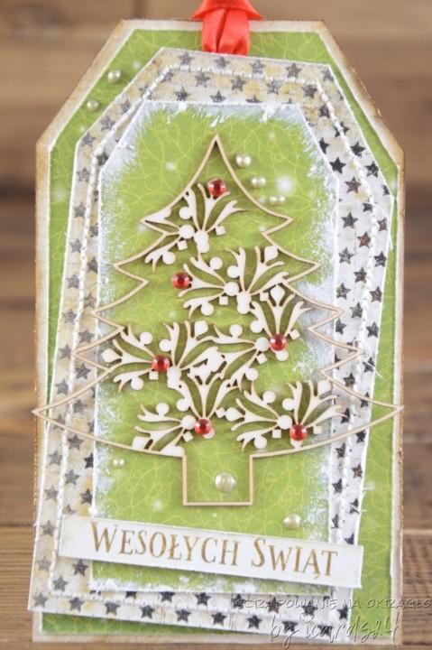 kartka z choinką na Święta