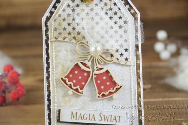 świąteczna kartka z dzwoneczkami