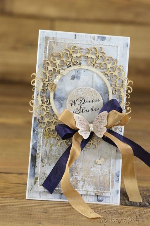 ślubna kartka ze złotem