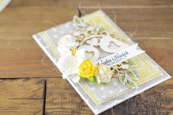 kartka z ptaszkami na Ślub