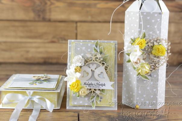 kartka z pudełkiem i opakowaniem na wino na Ślub