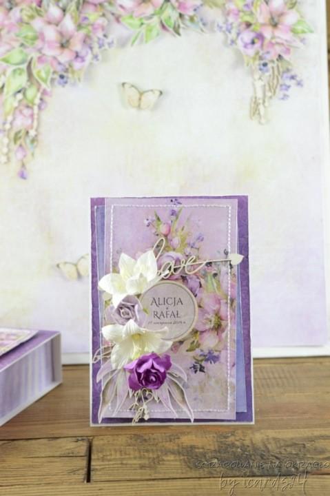 fioletowa kartka na Ślub