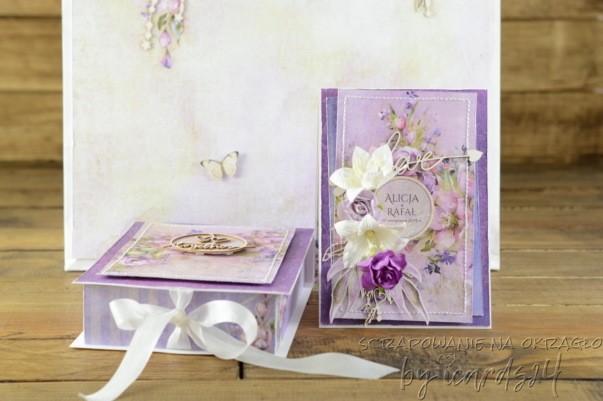 pamiątka karta z pudełkiem na Ślub