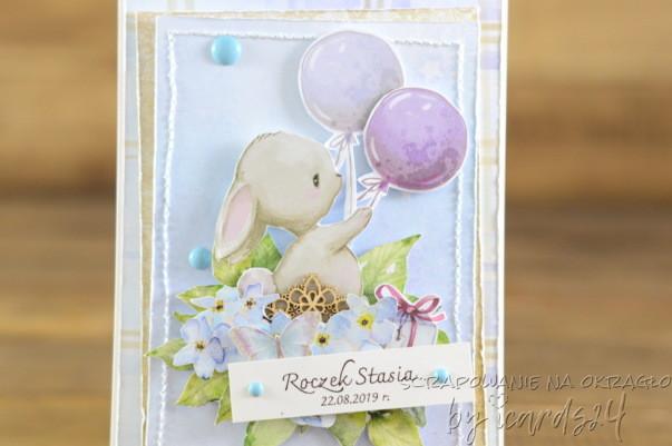 kartka na roczek z króliczkiem