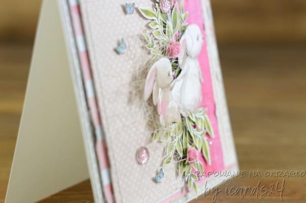 różowa kartka z króliczkami