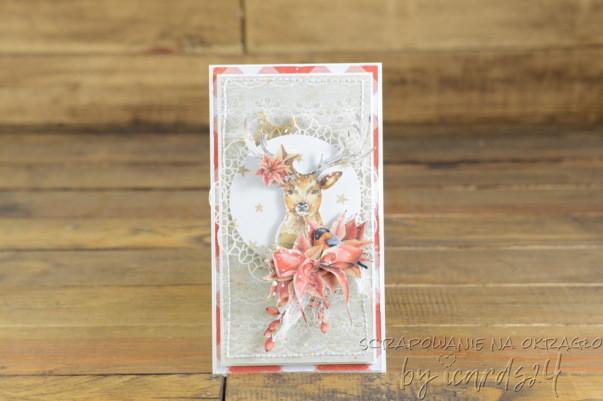 Świąteczna kartka z reniferem