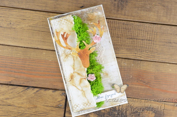 kartka urodzinowa z chrobotkiem