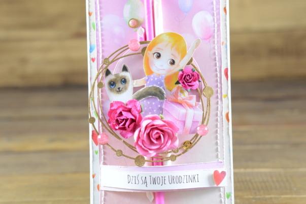 różowa urodzinowa kartka
