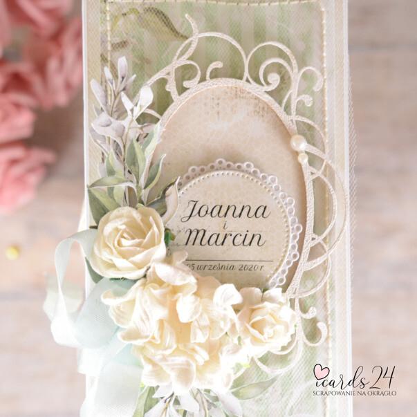 pastelowa kartka z okazji ślubu