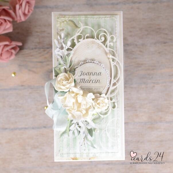 miętowa kartka z okazji ślubu