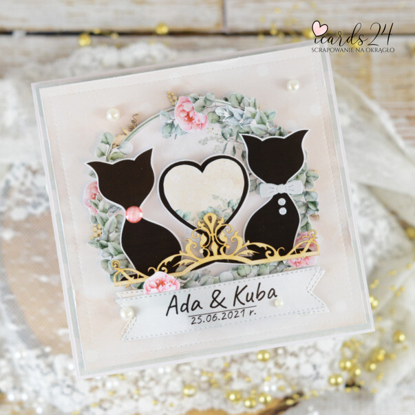 ślubna kartka z kotami